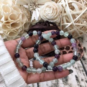 The Crystal Doctors Jewelry - Green and Purple Fluorite Bracelet.
